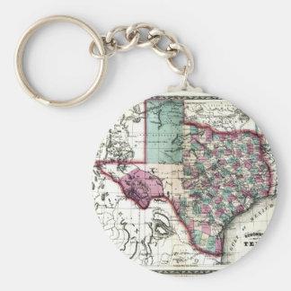 1866 Antiquarian Map of Texas by Schönberg & Co. Basic Round Button Keychain