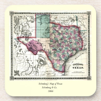 1866 Antiquarian Map of Texas by Schönberg & Co. Beverage Coaster