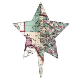 1866 Antiquarian Map of Texas by Schönberg Co Star Cake Topper