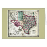 1866 Antiquarian Map of Texas by Schönberg & Co. Greeting Cards