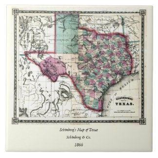 1866 Antiquarian Map of Texas by Schönberg & Co. Ceramic Tile