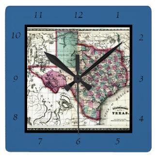1866 Antiquarian Map of Texas by Schönberg & Co. Clocks