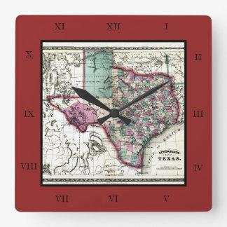 1866 Antiquarian Map of Texas by Schönberg & Co. Square Wallclocks