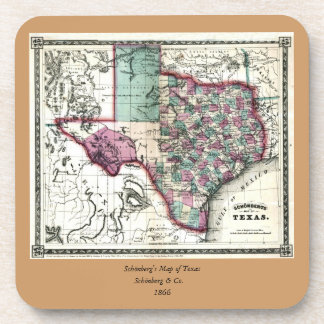 1866 Antiquarian Map of Texas by Schönberg & Co. Coaster