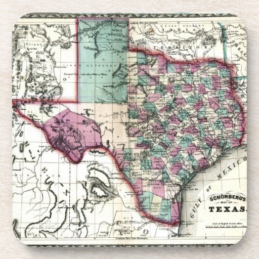 1866 Antiquarian Map of Texas by Schönberg & Co. Beverage Coasters