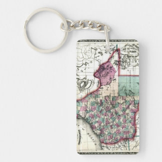 1866 Antiquarian Map of Texas by Schönberg & Co. Double-Sided Rectangular Acrylic Keychain