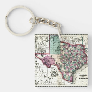 1866 Antiquarian Map of Texas by Schönberg & Co. Double-Sided Square Acrylic Keychain