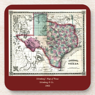 1866 Antiquarian Map of Texas by Schönberg & Co. Drink Coaster
