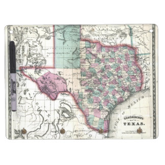 1866 Antiquarian Map of Texas by Schönberg & Co. Dry Erase Board With Keychain Holder