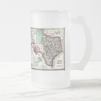 1866 Antiquarian Map of Texas by Schönberg & Co. Frosted Glass Beer Mug