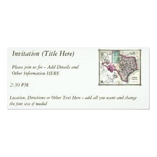 "1866 Antiquarian Map of Texas by Schönberg & Co. 4"" X 9.25"" Invitation Card"