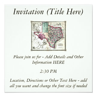 """1866 Antiquarian Map of Texas by Schönberg & Co. 5.25"""" Square Invitation Card"""