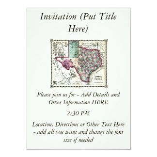 "1866 Antiquarian Map of Texas by Schönberg & Co. 5.5"" X 7.5"" Invitation Card"