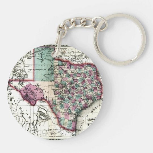1866 Antiquarian Map of Texas by Schönberg & Co. Keychain