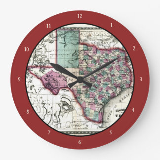 1866 Antiquarian Map of Texas by Schönberg & Co. Large Clock