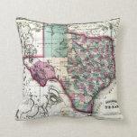 1866 Antiquarian Map of Texas by Schönberg & Co. Pillow