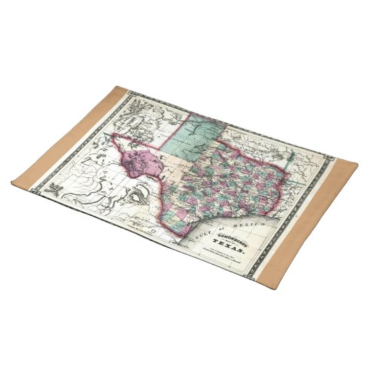 1866 Antiquarian Map of Texas by Schönberg & Co. Placemat
