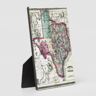 1866 Antiquarian Map of Texas by Schönberg & Co. Plaque