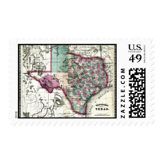 1866 Antiquarian Map of Texas by Schönberg & Co. Postage Stamps