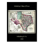 1866 Antiquarian Map of Texas by Schönberg & Co. Postcards