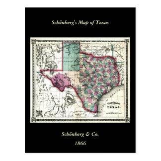 1866 Antiquarian Map of Texas by Schönberg & Co. Postcard