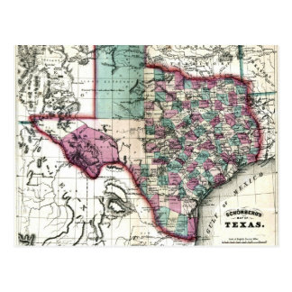 1866 Antiquarian Map of Texas by Schönberg & Co. Postcard