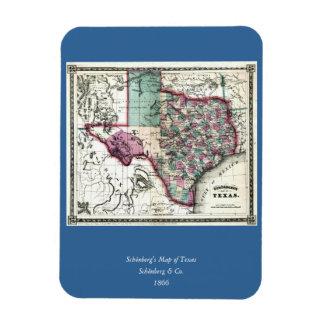 1866 Antiquarian Map of Texas by Schönberg & Co. Rectangular Photo Magnet