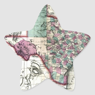 1866 Antiquarian Map of Texas by Schönberg & Co. Star Sticker