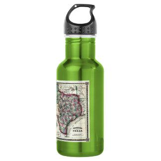1866 Antiquarian Map of Texas by Schönberg & Co. Water Bottle