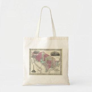 1866 Johnson Map of Washington D.C. Canvas Bags