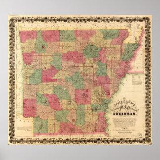 1866 Map of Arkansas Posters