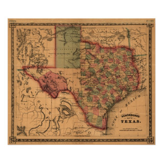 1866 Map of Texas Posters