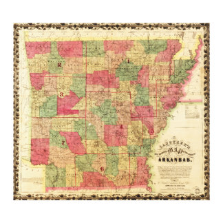 1866 Sectional Map of Arkansas by Caleb Langtree Canvas Print