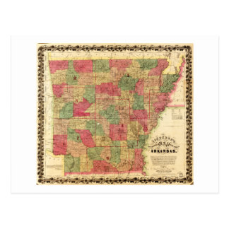 1866 Sectional Map of Arkansas by Caleb Langtree Postcard