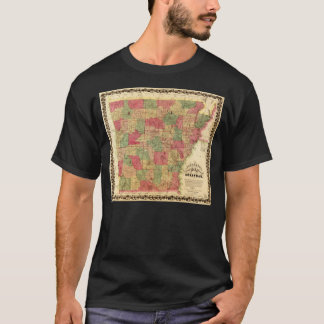 1866 Sectional Map of Arkansas by Caleb Langtree T-Shirt