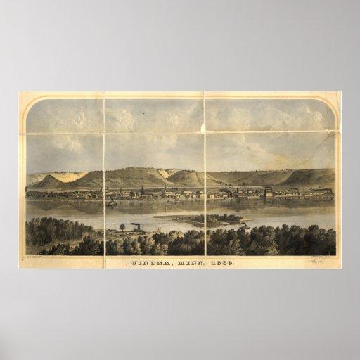 1866 Winona, mapa panorámico de la opinión de ojo  Póster
