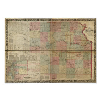 1867 Antique Railroad Map of Kansas Poster