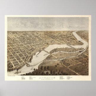 1867 Appleton, WI Birds Eye View Panoramic Map Poster