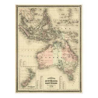 1867 Australia and East Indies Vintage Map Postcard