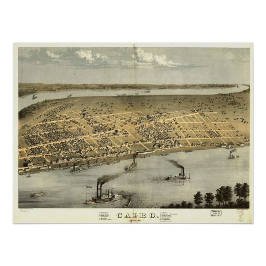 1867 Cairo, IL Birds Eye View Panoramic Map Poster