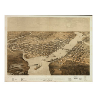 1867 Green Bay Ft Howard WI BirdsEye Panoramic Map Poster