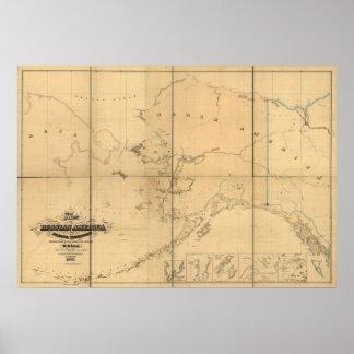 1867 Map Russian America Alaska Territory Poster