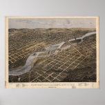 1867 Minneapolis & St. Paul , MN Panoramic Map Poster