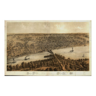 1867 Peoria, IL Birds Eye View Panoramic Map Poster