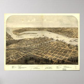 1867 Port Huron, MI Birds Eye View Panoramic Map Posters