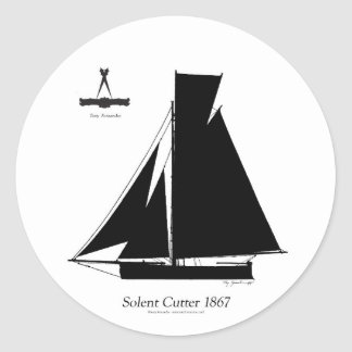 1867 solent cutter - tony fernandes classic round sticker