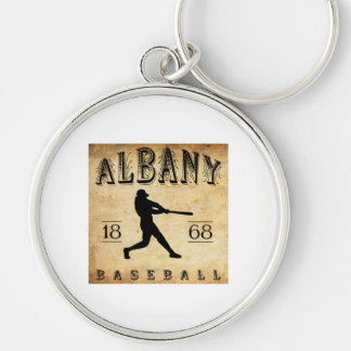 1868 Albany New York Baseball Silver-Colored Round Keychain