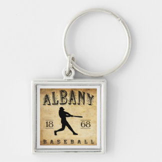 1868 Albany New York Baseball Silver-Colored Square Keychain