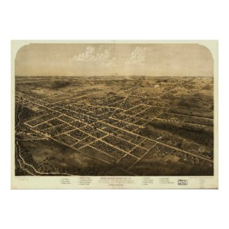 1868 Coldwater, MI Birds Eye View Panoramic Map print