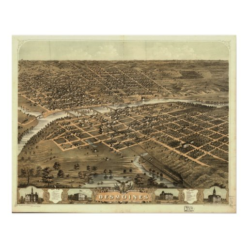 1868 Des Moines, IA Birds Eye View Panoramic Map Poster
